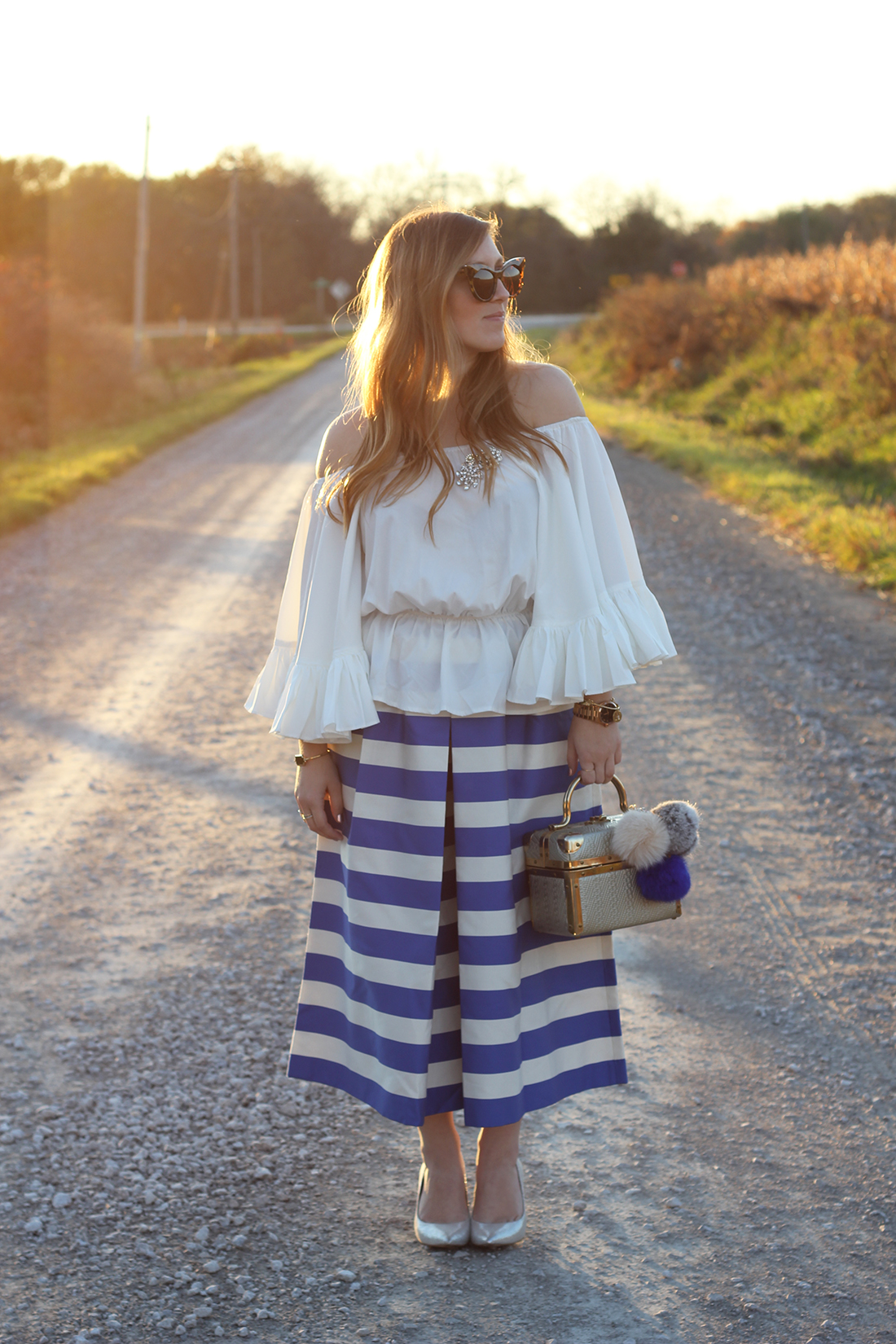 blue-striped-gaucho-pants-ruffled-off-the-shoulder-top-1