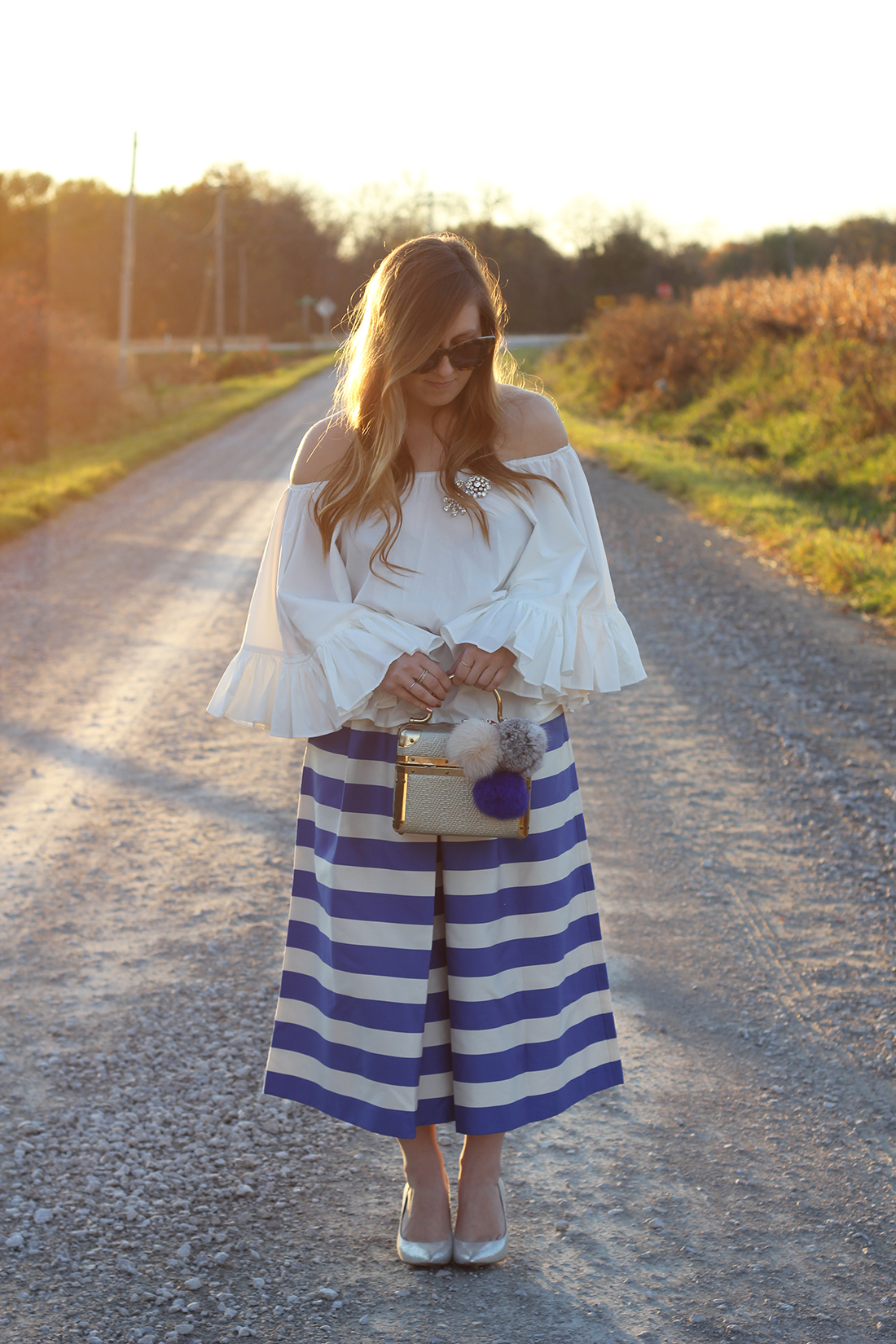 blue-striped-gaucho-pants-ruffled-off-the-shoulder-top-2
