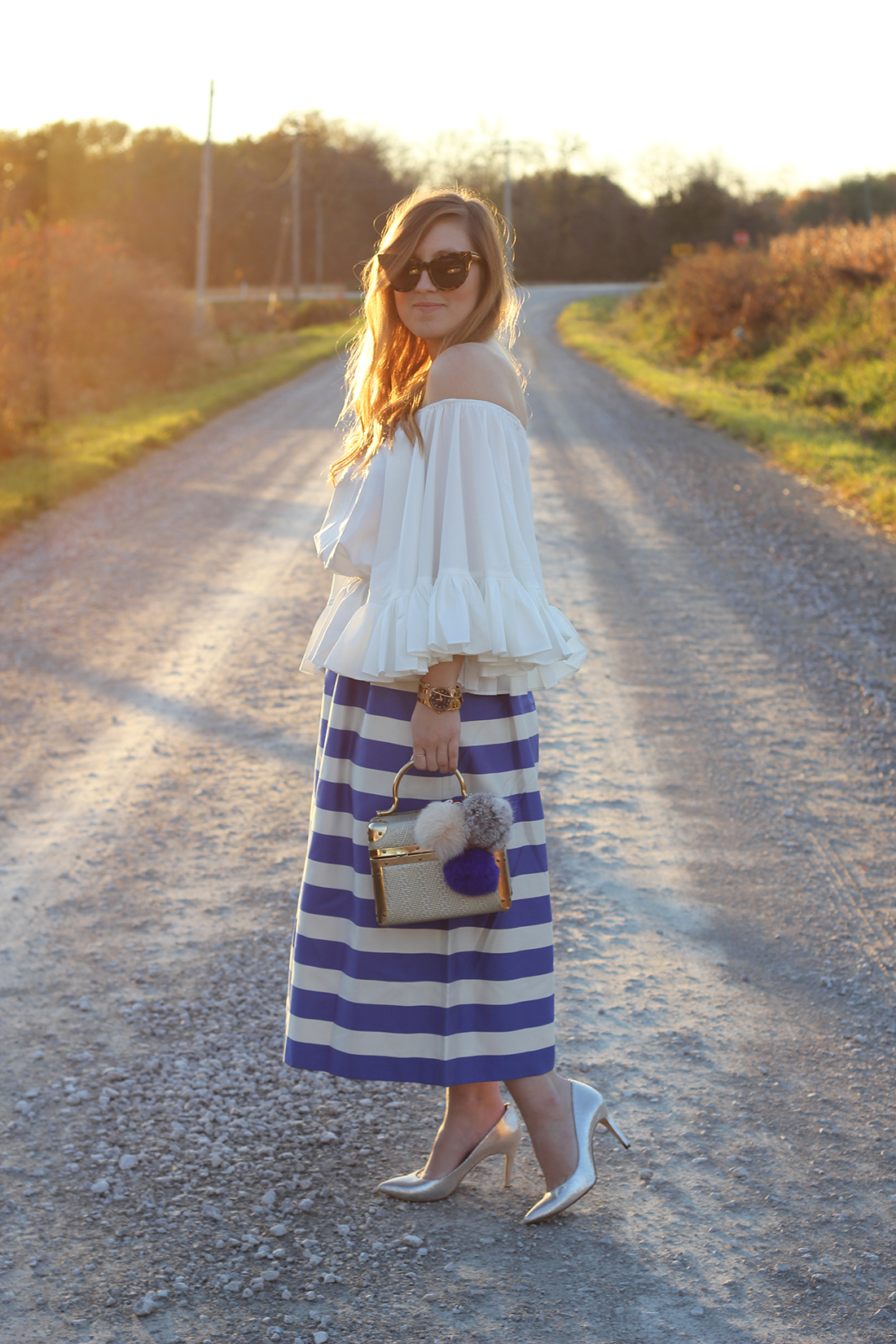 blue-striped-gaucho-pants-ruffled-off-the-shoulder-top-3