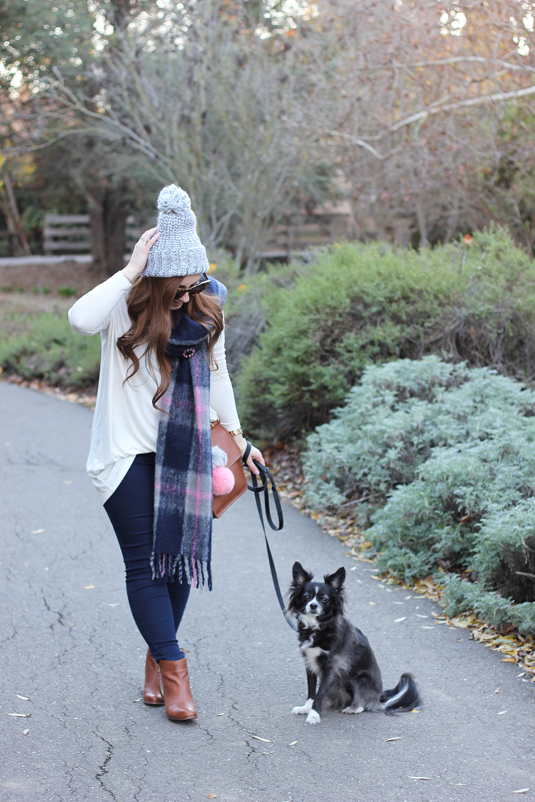 plaid-scarf-knit-beanie-pompom-7
