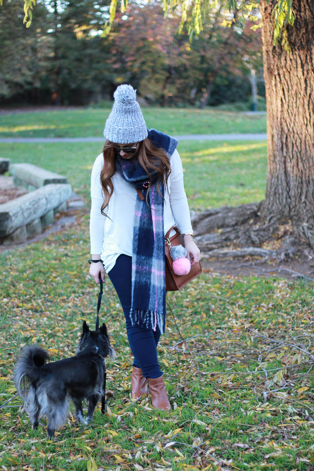 plaid-scarf-knit-beanie-pompom-8