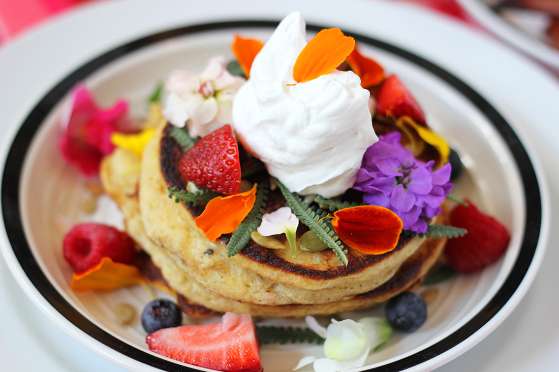 multigrain-ricotta-pancakes-edible-flowers-11