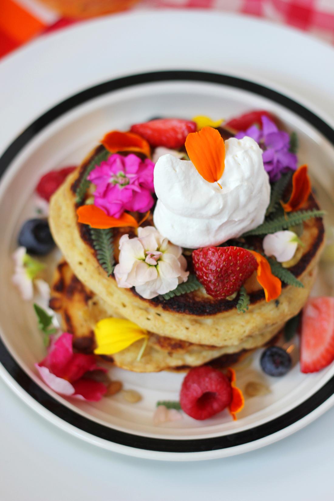 multigrain-ricotta-pancakes-edible-flowers-2