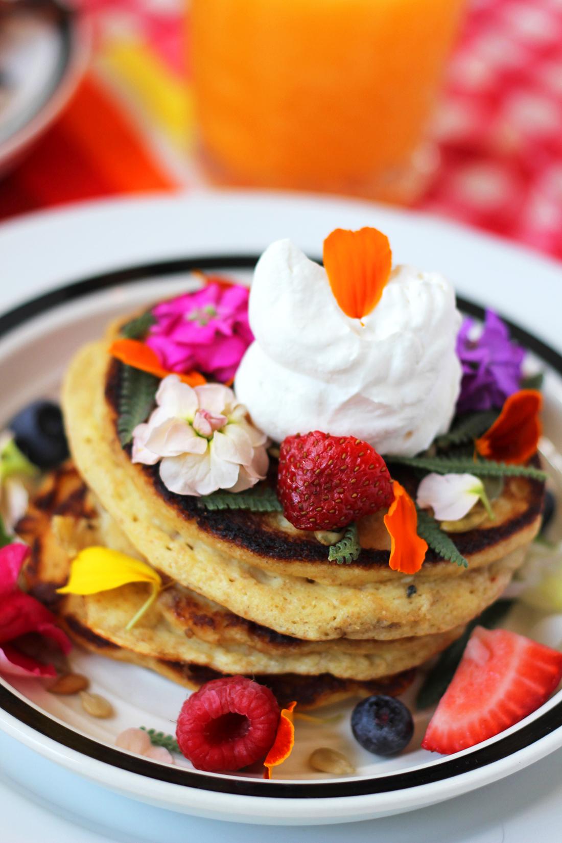 multigrain-ricotta-pancakes-edible-flowers-5