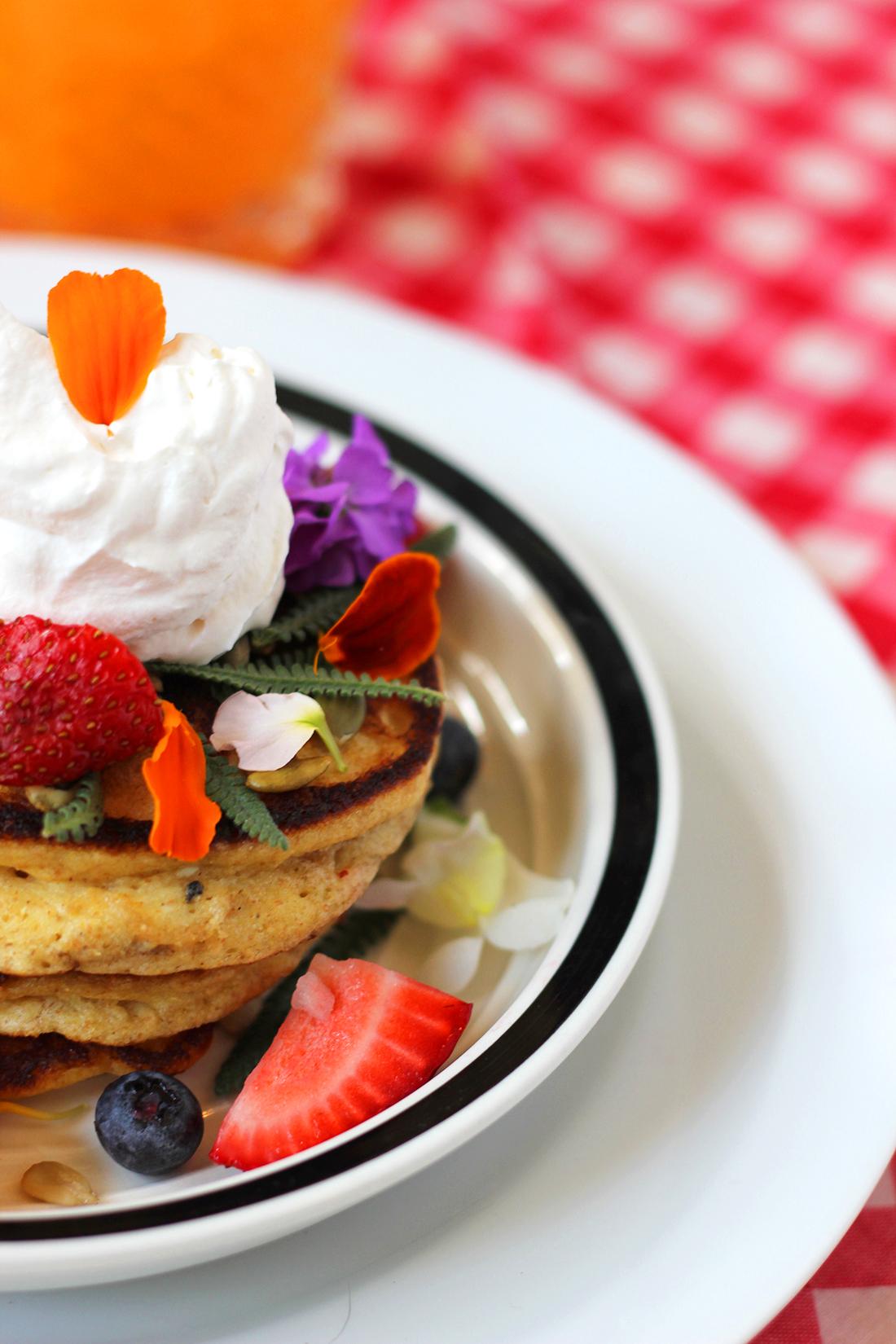 multigrain-ricotta-pancakes-edible-flowers-6
