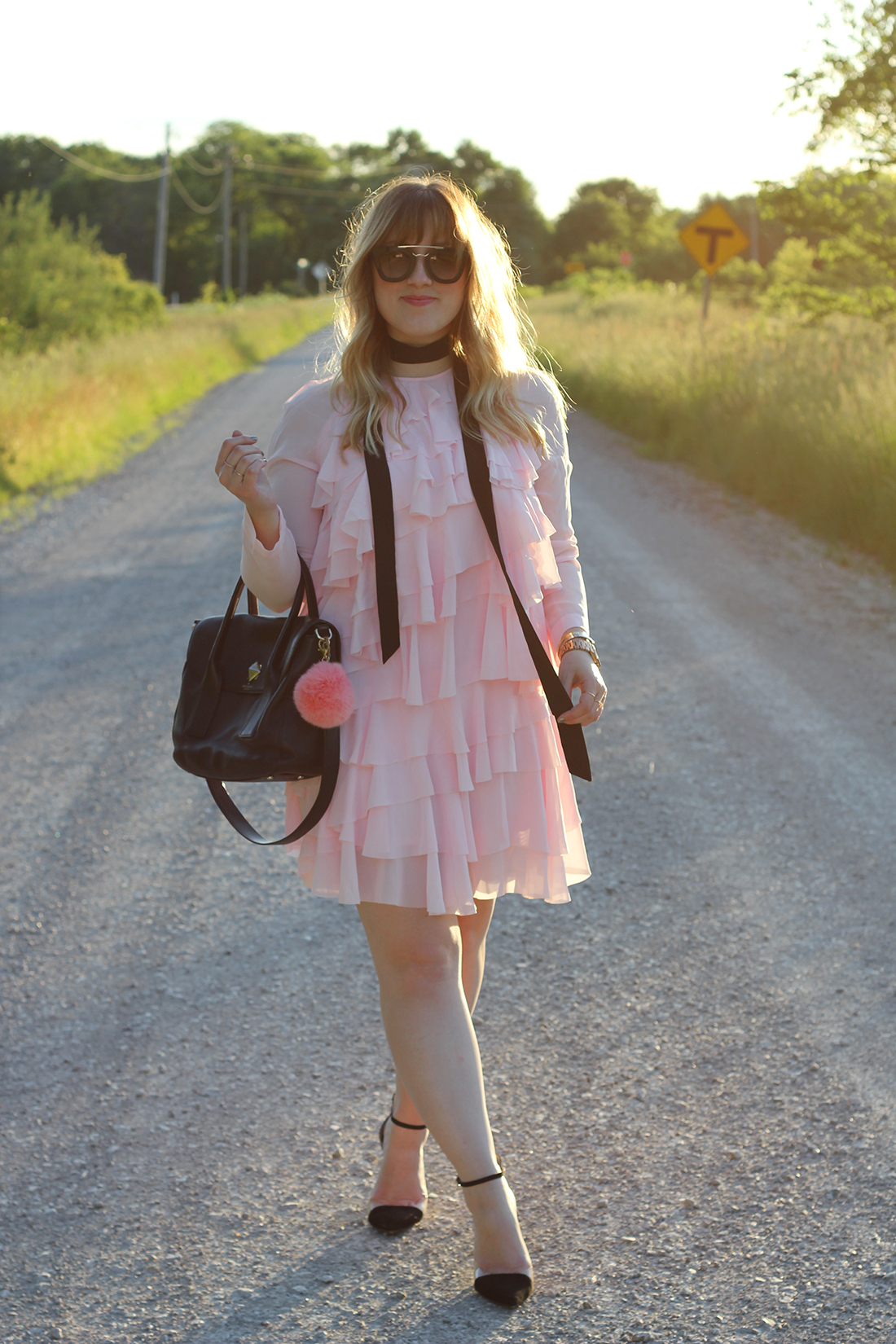 pink-ruffle-dress-skinny-scarf-1