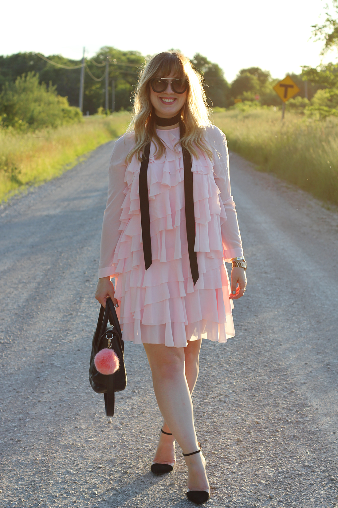 pink-ruffle-dress-skinny-scarf-2