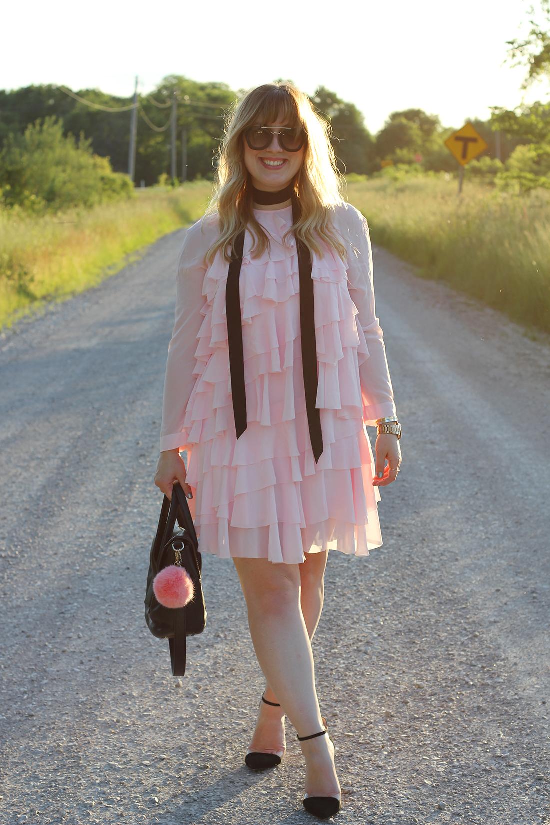 pink-ruffle-dress-skinny-scarf-2