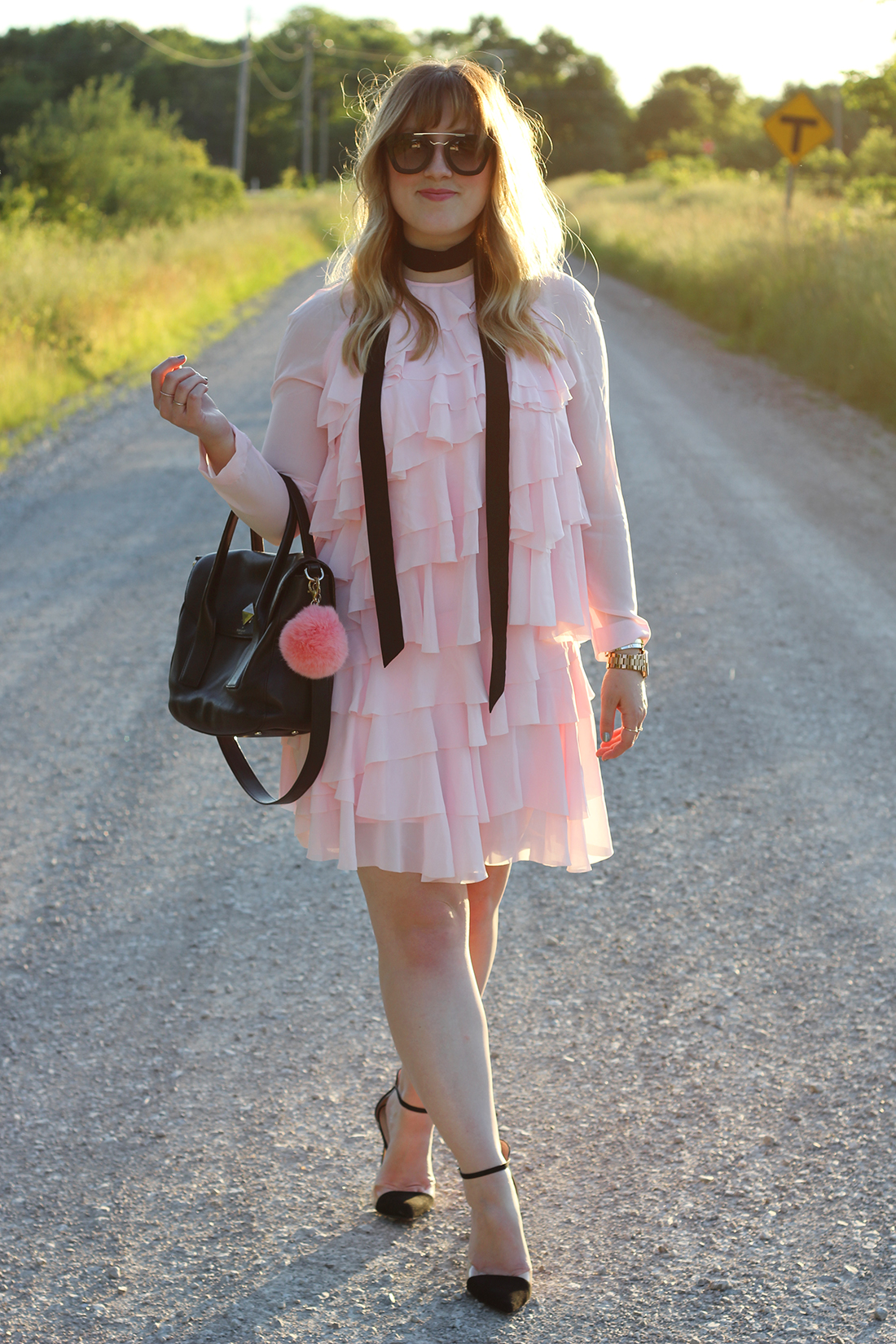 pink-ruffle-dress-skinny-scarf-3