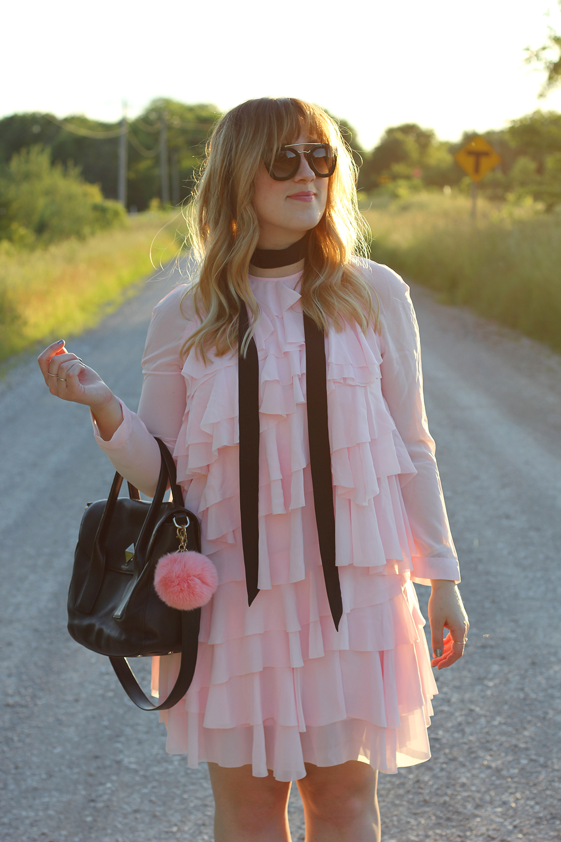 pink-ruffle-dress-skinny-scarf-4