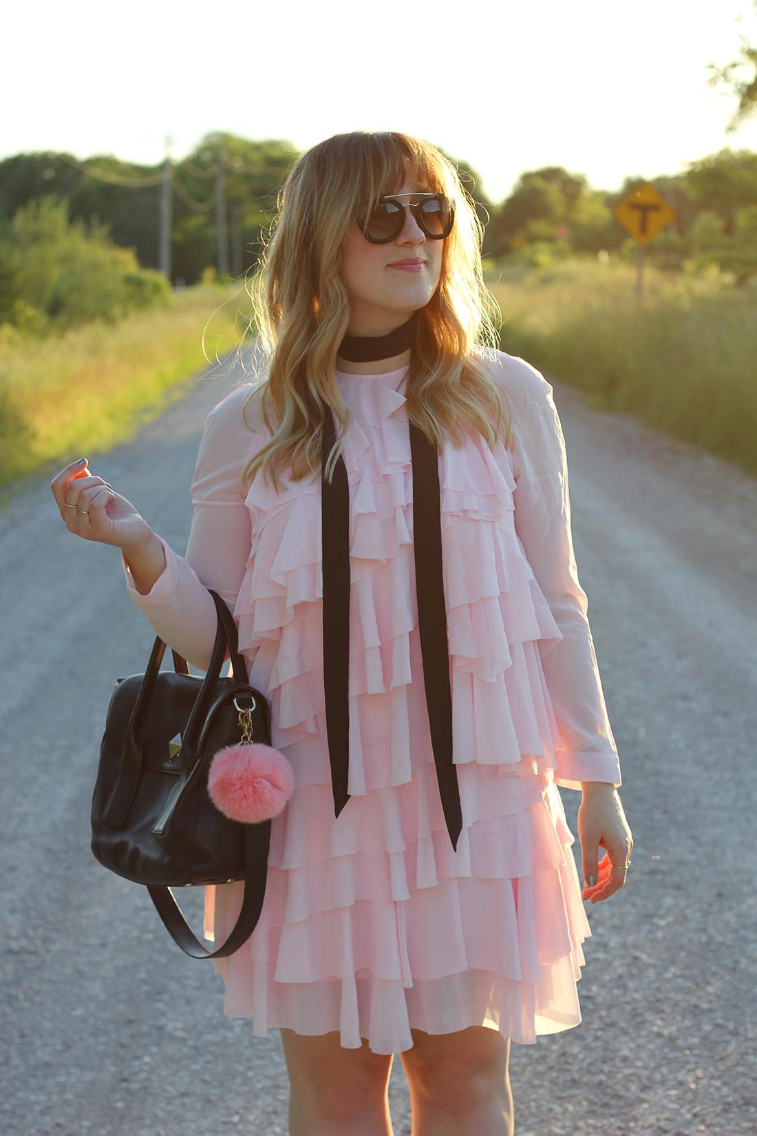 pink-ruffle-dress-skinny-scarf-4
