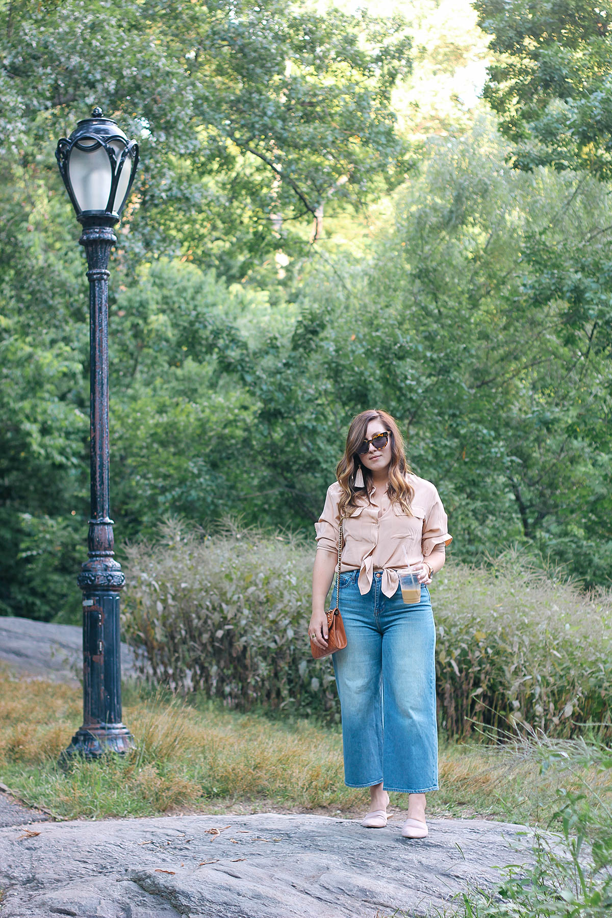 A silk shirt and denim culottes.