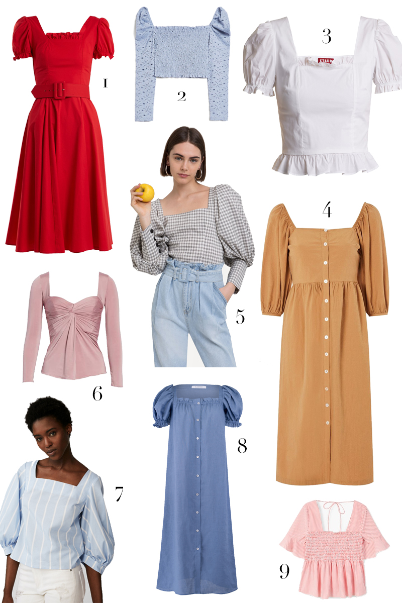 Tap into spring trends with a pretty square neck top or dress. See my full shopping round-up at HomemadeBanana.com