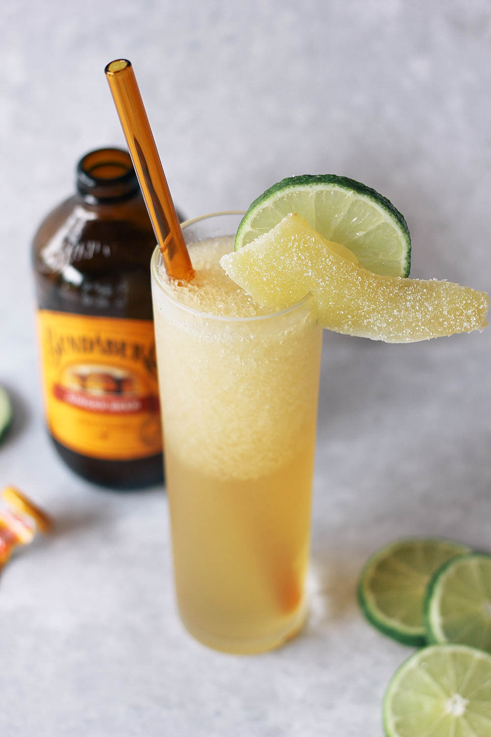 Toast to the end of summer with this frozen take on the classic dark and stormy cocktail. Get the full recipe at HomemadeBanana.com #cheers #happyhour #rum